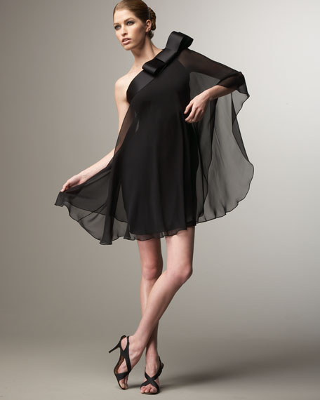 Chiffon Shoulder-Bow Dress