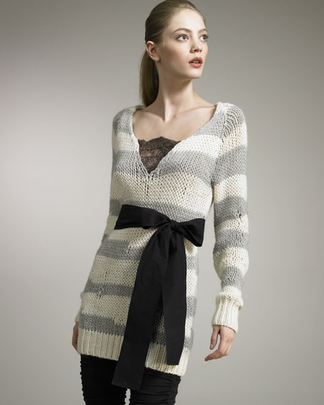 Striped Tie-Waist Sweater