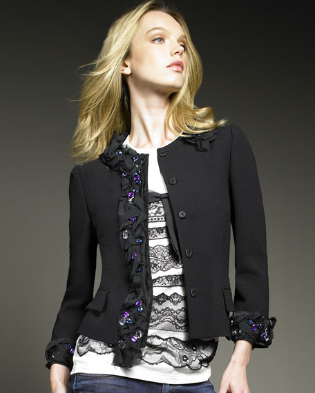 Jeweled Crepe Jacket