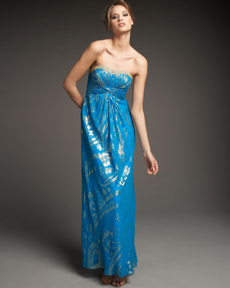 Strapless Foil Gown