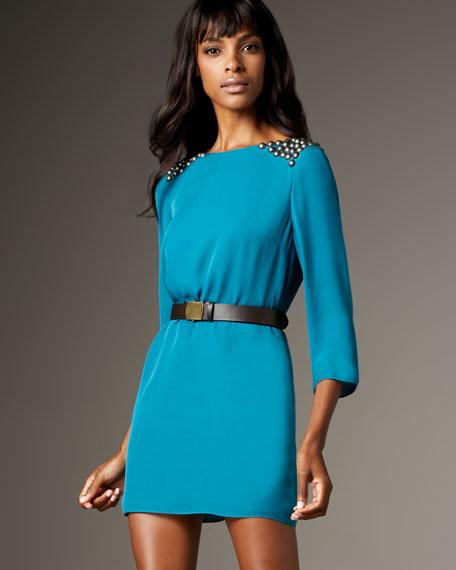 Studded Shoulder Sheath Dress