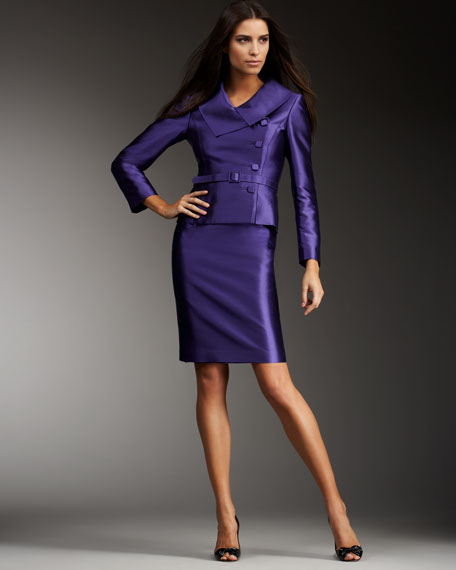 Side-Button Belted Skirtsuit