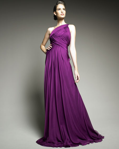 One-Shoulder Ruched Chiffon Gown