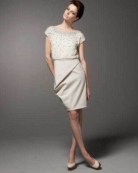 Beaded-Bodice Blouson Dress
