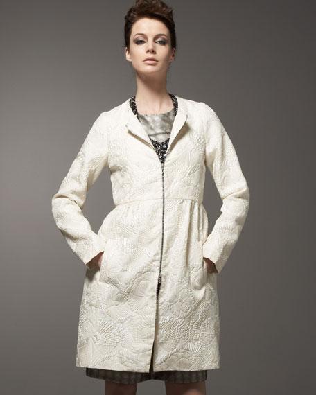 Matelasse Zip-Front Coat
