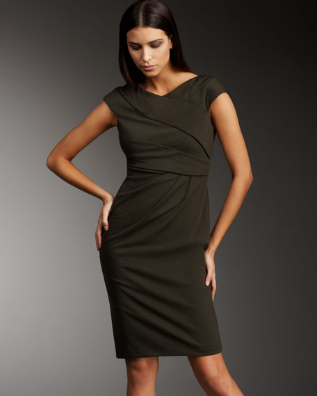 Pleated Neck Cap-Sleeve Dress
