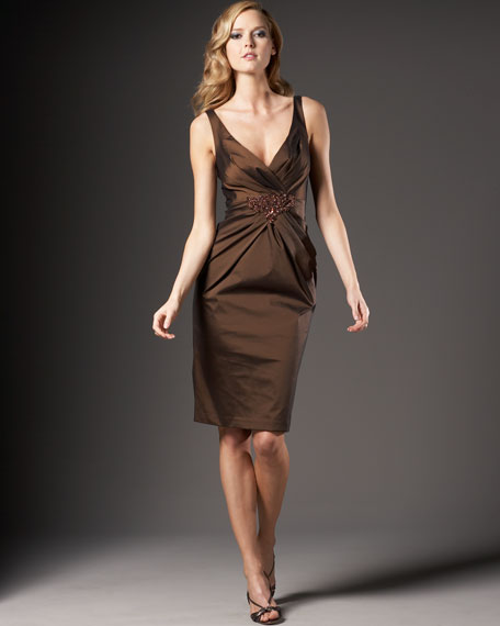 Beaded Stretch Taffeta Dress