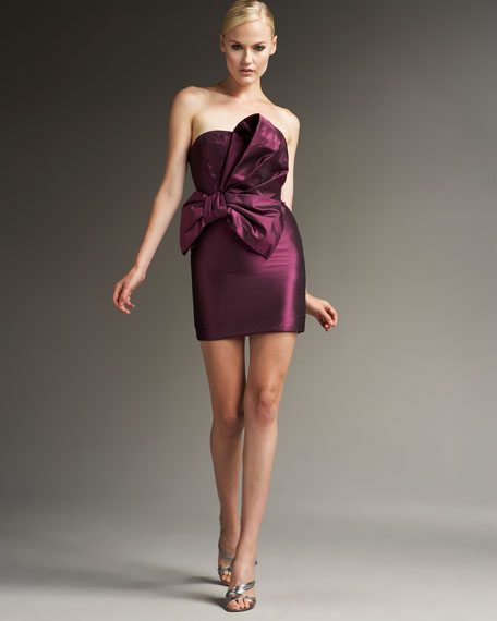 Taffeta Draped-Bow Dress