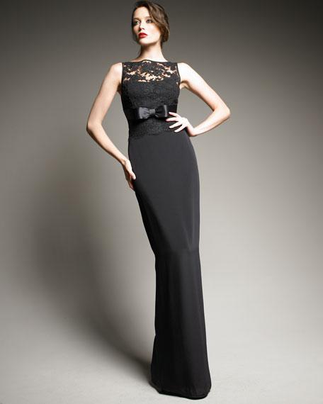 Bateau-Neck Lace Gown