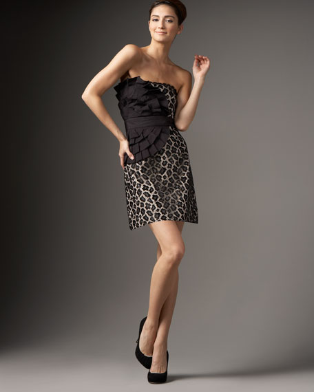 Phoebe Couture Animal-Print Strapless Dress