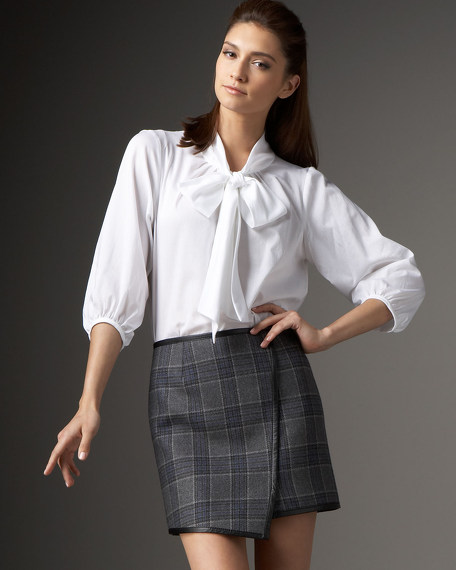 Plaid Faux Wrap Skirt