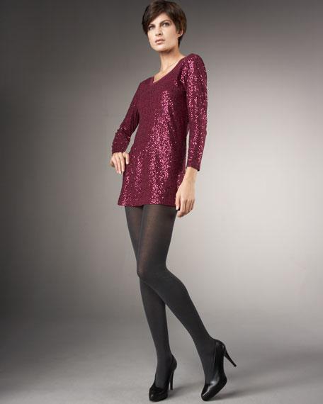 Long-Sleeve Sequined Tunic Dress