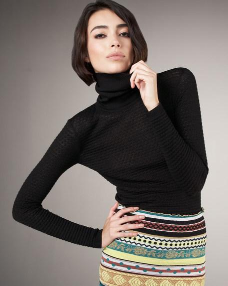 Textured Knit Turtleneck