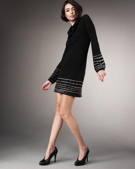 Contrast-Trim Dress, Black