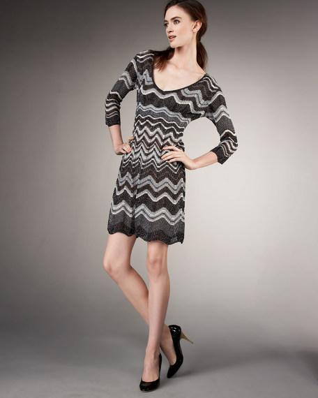 Lurex Long-Sleeve Dress