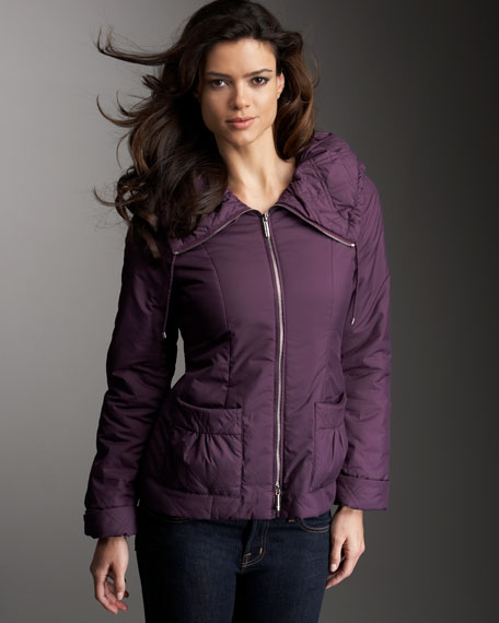 Jacket With Ruched Quilted Collar