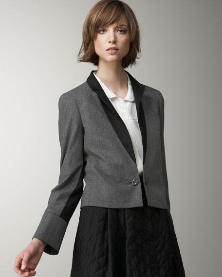 Two-Tone Crop Tuxedo Jacket