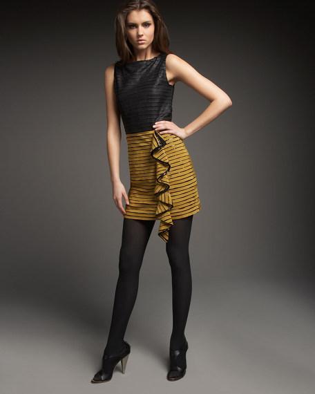 Georgia Leather-Bodice Dress