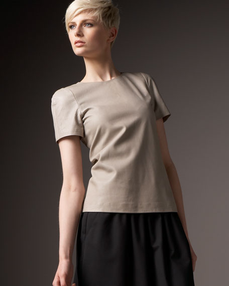 Short-Sleeve Leather Top, Plaster