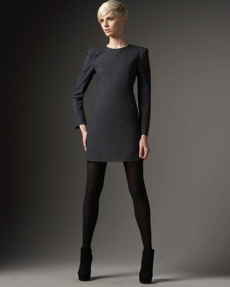 Long-Sleeve Stretch Wool Dress