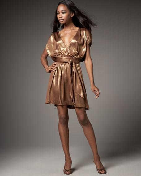 Gold Shirred Shoulder Mini Dress