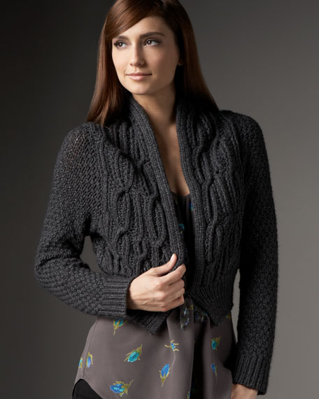 Chunky Cable-Knit Ballet Cardigan