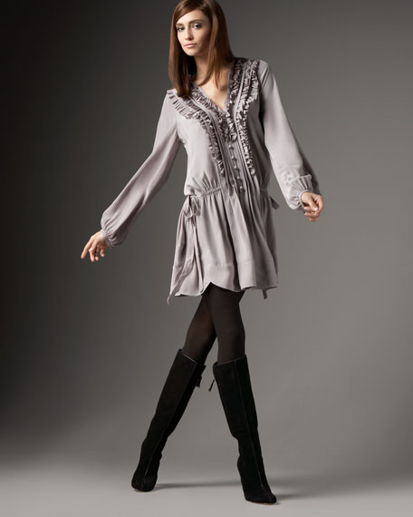 Silk Tuxedo Shirtdress