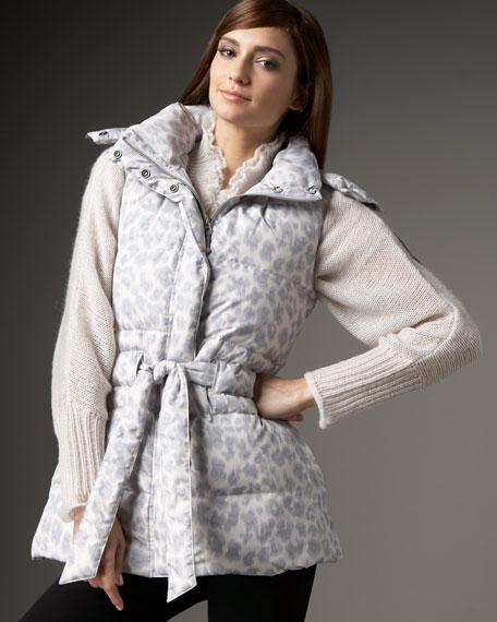 Leopard-Print Puffer Vest