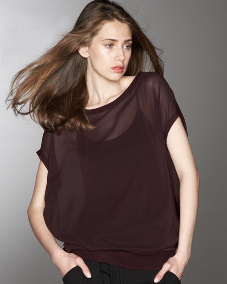 Cashmere-Trim Slouchy Silk Sweater