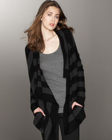 Striped Wool-Cashmere Cardigan