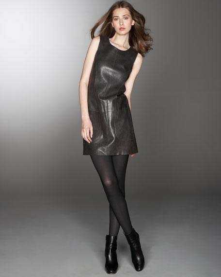 Laser-Cut Leather Jumper Dress