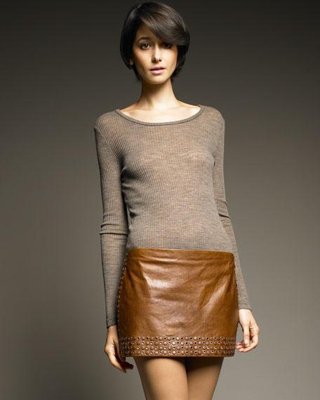 Studded Leather Miniskirt