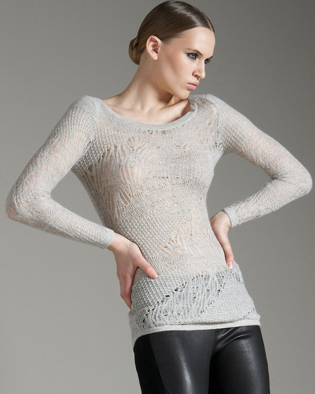 Fine Lace-Knit Sweater