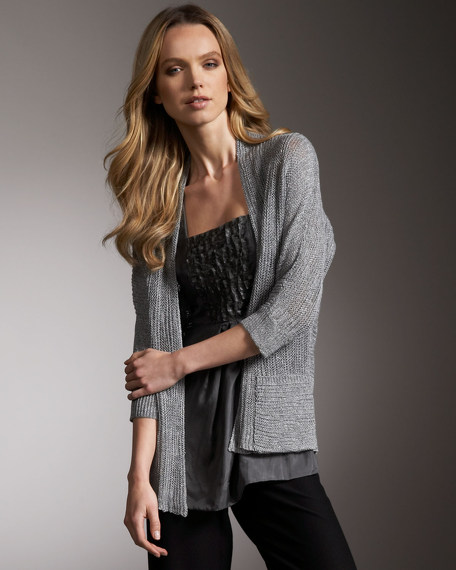 Linen-Silk Open Cardigan