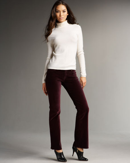 CJ by Cookie Johnson Grace Stretch Velvet Boot-Cut Pants, Crimson