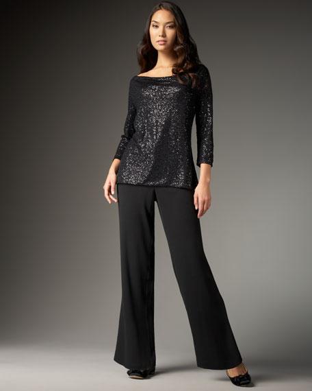Eileen Fisher Silk Wide-Leg Trousers, Women's
