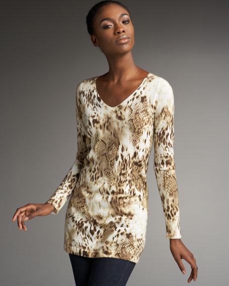 Animal-Print Cashmere Sweater