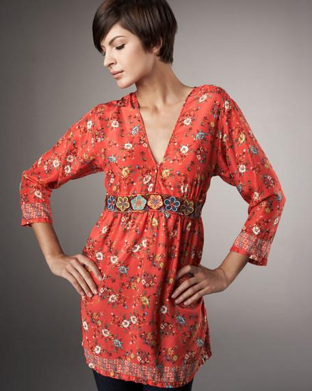 Embroidered Waist Tunic, Women's