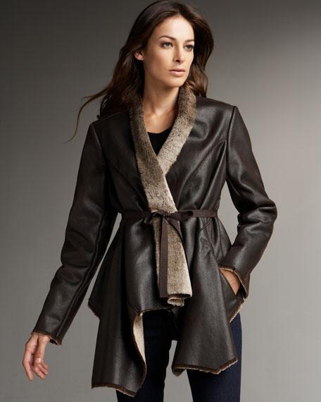 Faux-Shearling Wrap Jacket