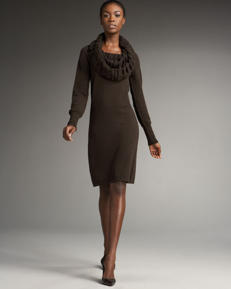 Ruched Cowl Neck Sweater Dress