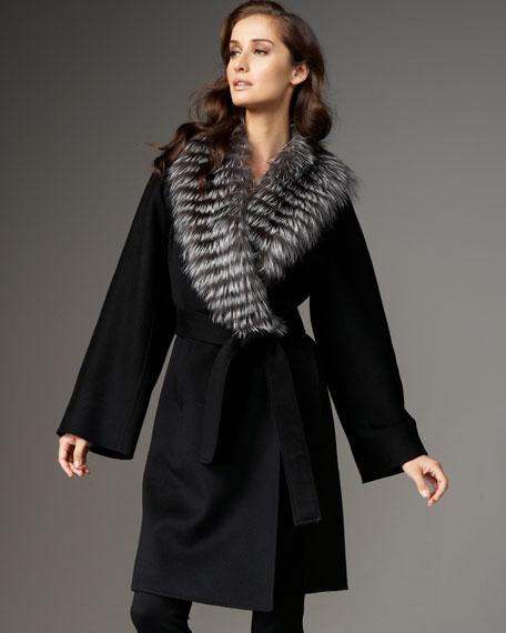 Fur-Collar Cashmere Wrap Jacket