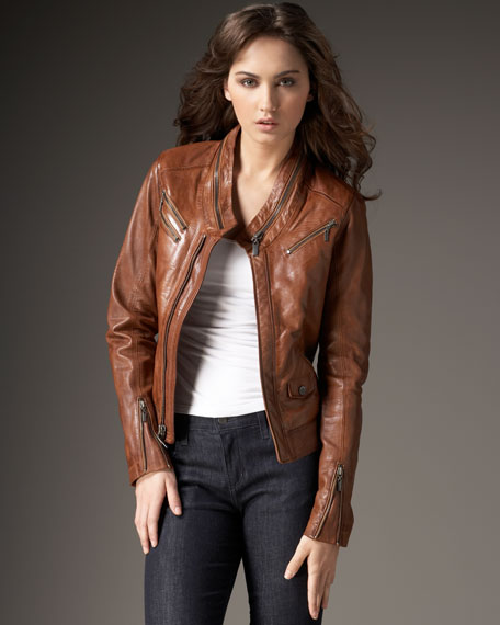 Snakeskin-Embossed Leather Jacket