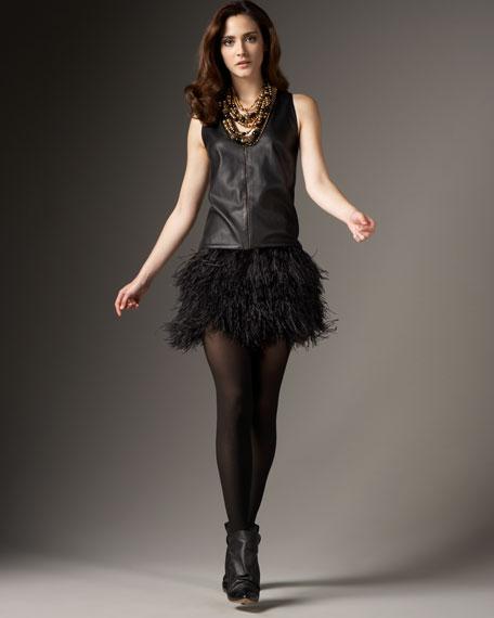 Ostrich & Leather Zip Dress
