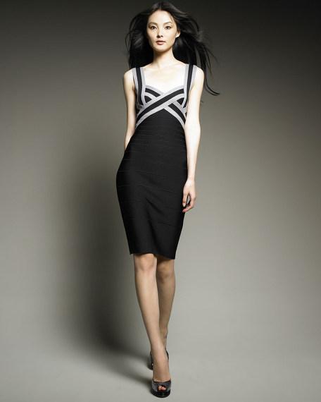 Colorblock Sweetheart Bandage Dress
