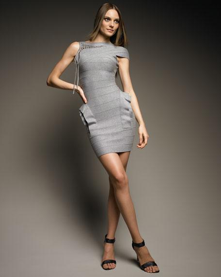 Heathered Bandage One-Shoulder Dress