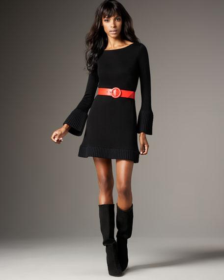 Belted Bell-Sleeve Dress