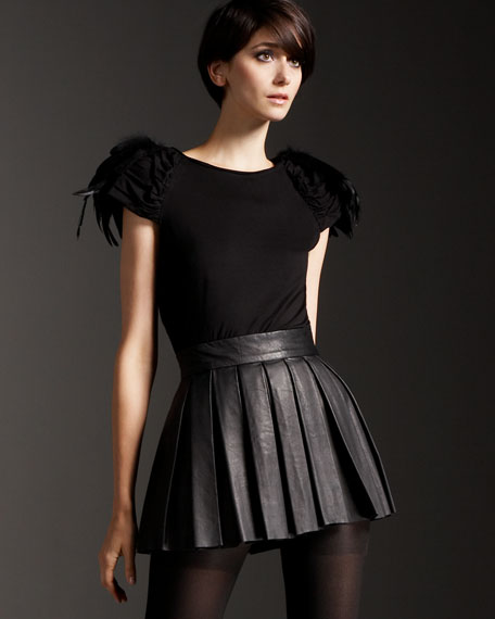Box-Pleated Leather Skirt