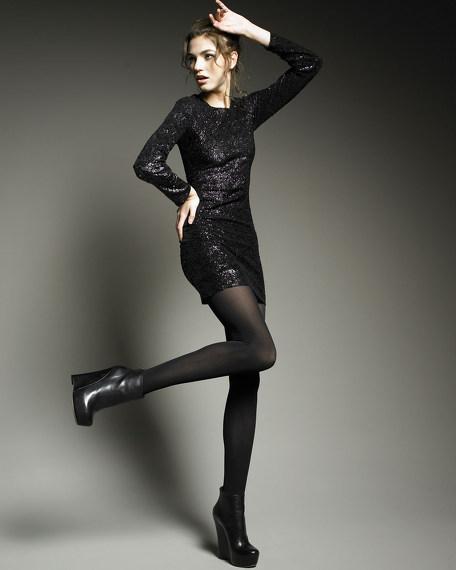 Nika Sequined Mesh-Back Dress