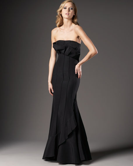 Origami-Top Seamed Gown