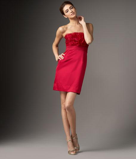 Ruffle-Top Silk Dress